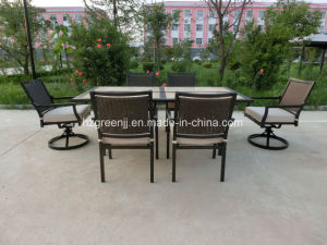7 Pieces Dining Set with Swivel Chair Ceramic Table Rattan Furniture pictures & photos