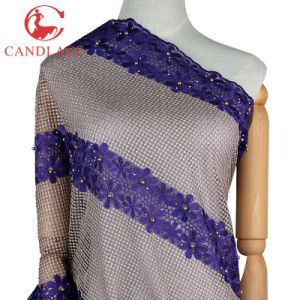 Candlace French Mesh Net Lace Fabric for Aso Ebi Party pictures & photos