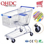 Best Selling American Style Blue Iron Funky Shopping Trolley Stainless Steel Metal Grocery Carts 150 Liter for Sale