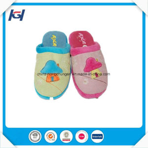 Latest Design Cute Cat Emb Soft Warm Slippers for Kids pictures & photos