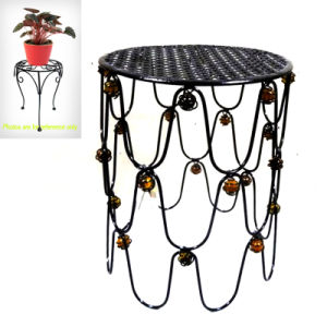 Deluxe Garden Glass Bead Decorated Metal Chair Flowerpot Stand Craft pictures & photos