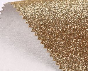 1.0mm Thickness Gold Color Glitter Leatherette Shiny Bright Color Wholesale PU Leather (HS-Y126) pictures & photos
