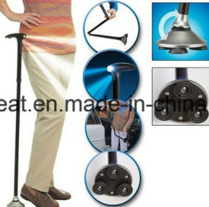 Standable Foldable Cane with LED Light/Walking Stick with LED Light pictures & photos