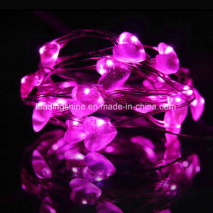 Heart Battery Operated Copper Wire Glimmer String Light Indoor USB 33 FT/ 10 M Pink pictures & photos