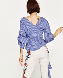 Fashion Clothes Casual Long Sleeve Women Blouse Leisurely Strip Shirt pictures & photos