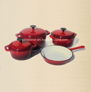 4PCS Cast Iron Cookware Set in Red Color with Enamel Finish pictures & photos