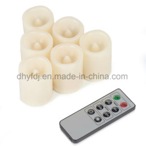 Flameless Candles Set of 4 Real Wax Dancing Flame LED Candles with 10-Key Remote Control 2/4/6/8 Hours Timer, Ivory Color pictures & photos