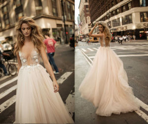 See Through Embellished Bridal Wedding Dress pictures & photos