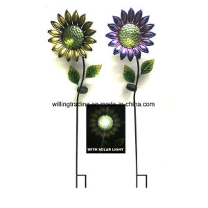 New Solar Lighted Metal Flower Stake Garden Decoration