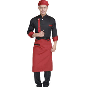 Fashion Chambray Long Sleeve Chef Coat Jacket Uniform of Cotton pictures & photos