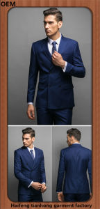 Double Breasted Men Pinstripe Office Designer Formal Suit