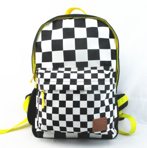 Men′s Chequered Printed Polyester Backpack pictures & photos