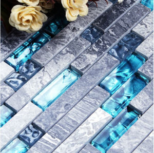 Building Material Natural Stone Marblemixed Glass Mosaic Floor Tile (FYST183)
