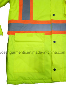 Men′s Hi-Viz Reflective Winter Padded Waterproof Windproof Safety Protective Workwear Jacket pictures & photos