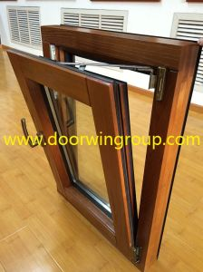 Europe & USA Quality Solid Wood Aluminum Windows, Inside Opening Tilt & Turn Red Oak Wood Aluminum Window pictures & photos