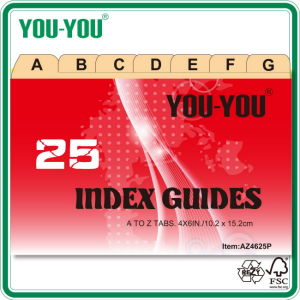 "Index Card, Index Guides with Tabs, 25, a~Z, 4""*6"""