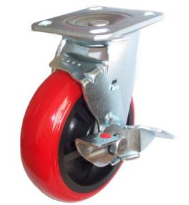 EH07 Swivel PU Caster with Side Brake (Bright Red) pictures & photos