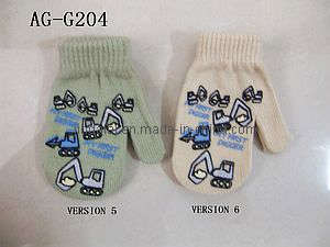 Girls Acrylic Gloves With Printing (AG-G204)