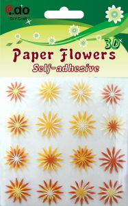 Paper Flower Sticker 16PCS (FOC-10)