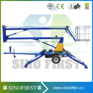 8m 10m Hydraulic Towable Trailed Pull Behind Boom Lift pictures & photos
