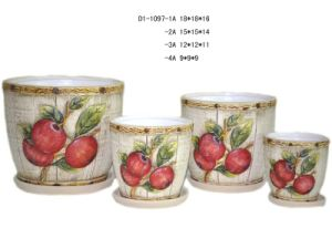 Pottery Flower Pot with Saucer (D1-1097A)