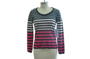 100% Cashmere Women Simple Striped Knitted Sweater pictures & photos