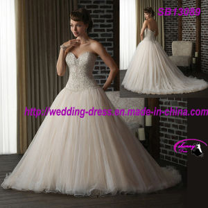 Beautiful Embroideried Bridal Ball Gown Strapless Sweetheart with Zipper up pictures & photos