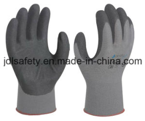Gray Nylon Knitted Working Glove with Sand Nitrile Coated (N1558) pictures & photos