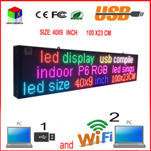 LED Display Panel Wireless and USB Programmable Rolling Information P6 Indoor 40X9 Inch Full-Color RGB LED Sign pictures & photos