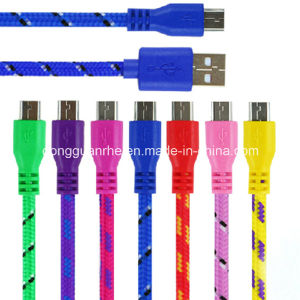 Round Nylon Braided Charging and Data USB Cable for Microusb