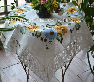 Sunflower Cotton Lace Border Embroidery Tablecloth St1778 pictures & photos