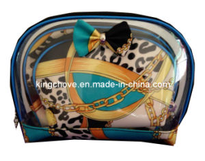 Blue Latest Fashion Transperant PVC with PU Cosmetic Bags (KCC134-03) pictures & photos