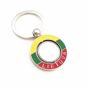 Lithuania Souvenir Gift Premium Color Round Spinning Key Chain (F1124)