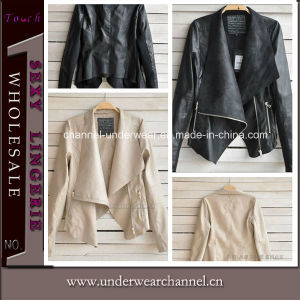 New Design Women Clothes PU Leather Coat (TONY8028) pictures & photos