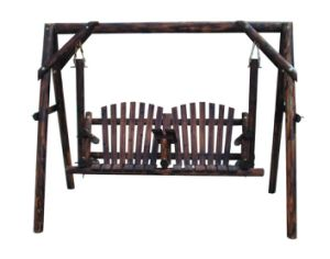Burnt Wood Porch Swing with Hanging Seat Outdoor Patio pictures & photos