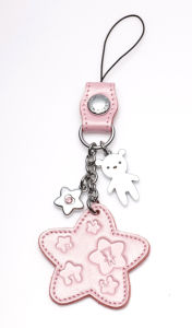 Fashion Cute Metal Bear Mobile Phone Strap with Leather (PS173)