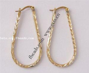 Teardrop Brass Hoop Earring, 43X21X2mm (Item No.: 100114191520)