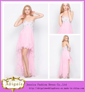 New Elegant Chiffon Front Short Long Back Sweetheart Beaded Sleeveless Western Cocktail Dress Yj0086