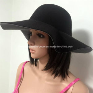 Fashion Colourful Fake Wool Lady′s Floppy Hat with Wide Brim pictures & photos