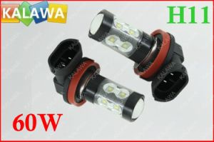 1 Pair 60W H11 6000k Fog Light Osram Chipset Black Metal Type High Power LED Lamp Car Headlamp DC12-24V ^Jmq