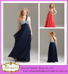 New Arrival Floor Length A-Line Sweetheart One-Shoulder Beaded Chiffon Pregnant Prom Dresses (WD89) pictures & photos