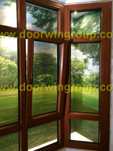 Double Glazing Insulating Toughened Glass with Low-E Coated Tilt Window, European Style Aluminium Wood Window pictures & photos