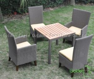 Outdoor Used Wood Feet PE Rattan Dining Chair (CP0080)