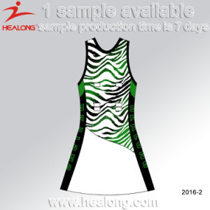 Healong 3D Sublimated Embroidery Any Logo Women Bodysuit Netball Skirts pictures & photos