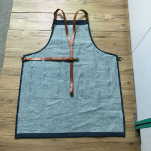Custom Denim Apron with Leather Strap for BBQ pictures & photos