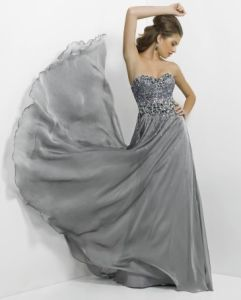 Gray Sleeveless Long Chiffon Wedding Formal Prom Evening Dress