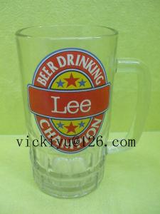 High Quality Glass Priniting Mug, 500ml Glass Milk Mug