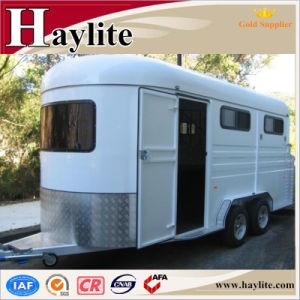 White 2 Horse Float with Horse Trailer Ramp Living Quarters and Roof for Sale pictures & photos