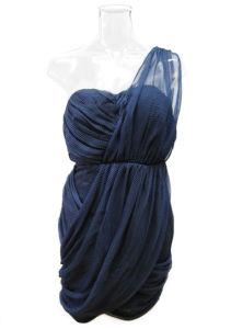 Lady One Strap Navy DOT Print Chiffion Fashion Dress (EF D8921)