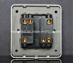 British Standard 2 Gang 1 Way Electric Wall Glass Light Switch pictures & photos